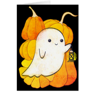 Friendly Ghost with Lantern and Pupmkins Halloween Card