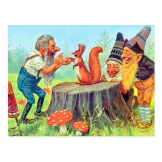 Friendly Gnomes Observe a Squirrel Postcard