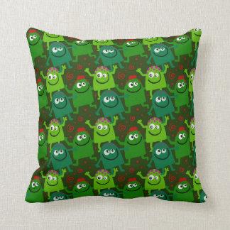 Friendly Green Cartoon Monsters Cushion