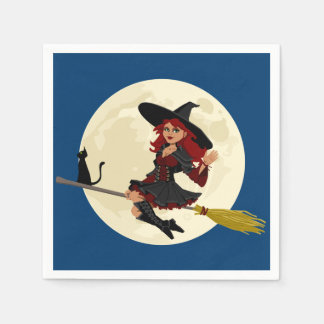 Friendly halloween witch kids disposable napkins