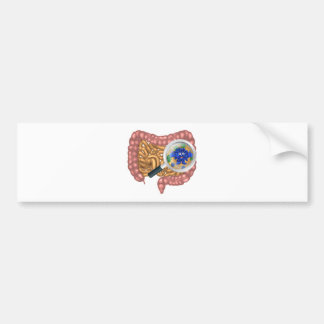 Friendly Intestine Probiotic Bacteria Mascot Bumper Sticker
