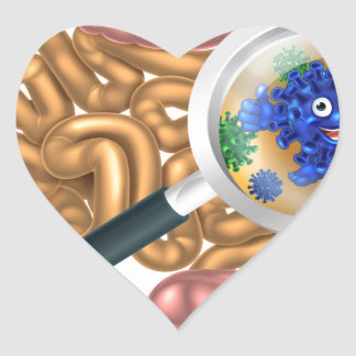 Friendly Intestine Probiotic Bacteria Mascot Heart Sticker