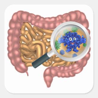 Friendly Intestine Probiotic Bacteria Mascot Square Sticker
