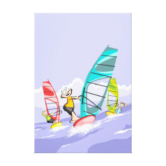 Friendly leaving to be Windsur to open sea Canvas Print