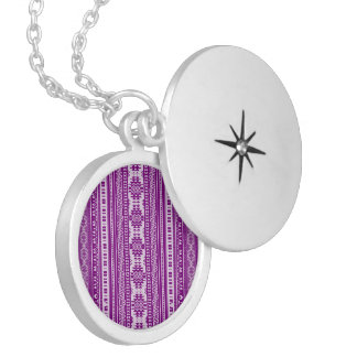 friendly mixed borders purple round locket necklace