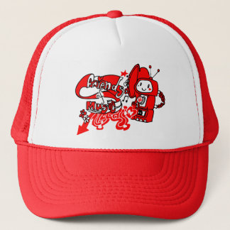 Friendly music robot trucker hat