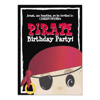 Friendly Pirate Birthday or Halloween Party 13 Cm X 18 Cm Invitation Card
