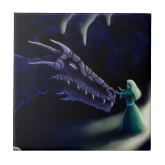 friendly purple dragon fantasy artwork small square tile