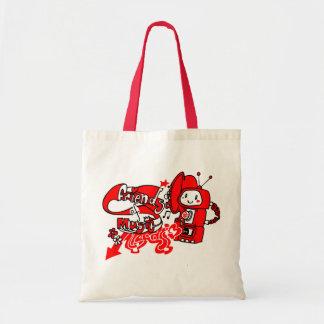 Friendly robot record shopper budget tote bag