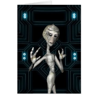 Friendly Sci-Fi Alien Visitor Card