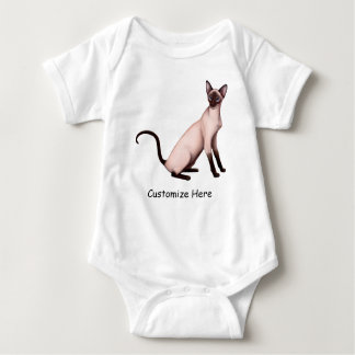 Friendly Siamese Cat Customizable Baby One Pc Baby Bodysuit