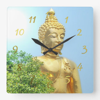 friendly sitting buddha square wall clock