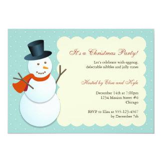 Friendly snowman north pole blue Christmas party 13 Cm X 18 Cm Invitation Card