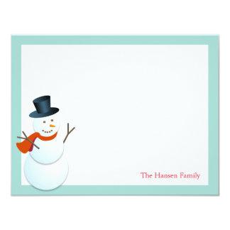 Friendly snowman north pole blue holiday thank you 11 cm x 14 cm invitation card