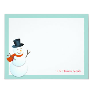 Friendly snowman north pole blue holiday thank you card