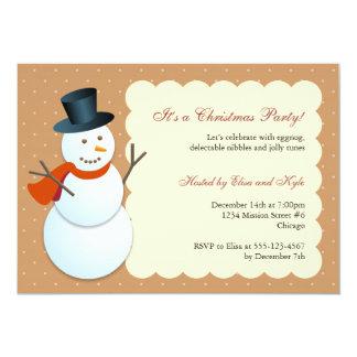 Friendly snowman north pole brown Christmas party 13 Cm X 18 Cm Invitation Card