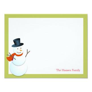Friendly snowman north pole green xmas thank you 11 cm x 14 cm invitation card