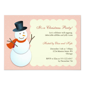 Friendly snowman north pole pink Christmas party 13 Cm X 18 Cm Invitation Card