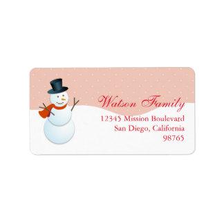 Friendly snowman north pole pink return address address label