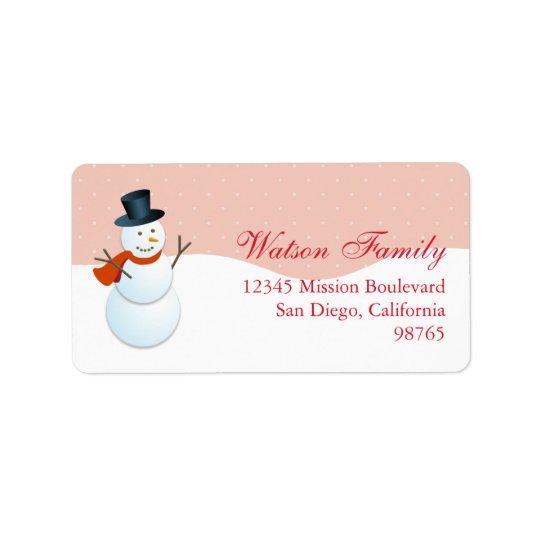 Friendly snowman north pole pink return address label