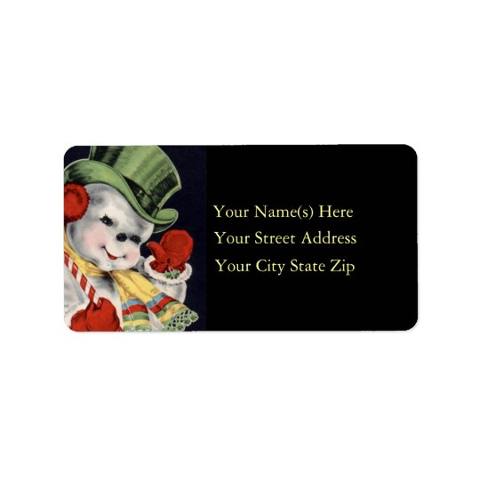 Friendly Snowman Vintage Address Label