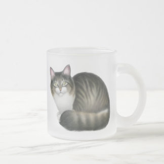 Friendly Tabby Cat Frosted Glass Mug