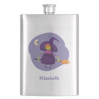 Friendly witch flying on broom at night halloween hip flask