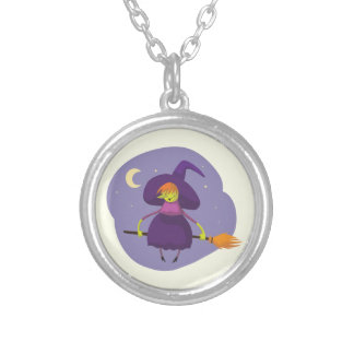 Friendly witch flying on broom at night halloween silver plated necklace