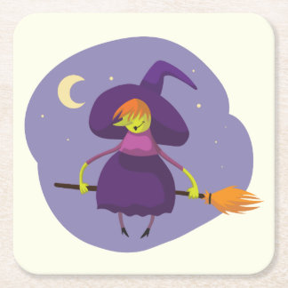 Friendly witch flying on broom at night halloween square paper coaster
