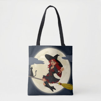 FRIENDLY WITCH TRICK OR TREAT ALL OVER TOTE BAG