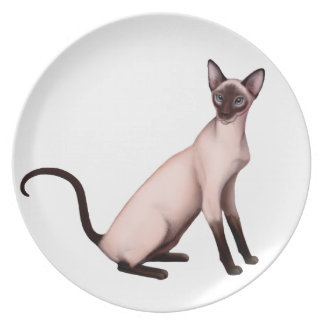 Friendly Young Siamese Cat Plate