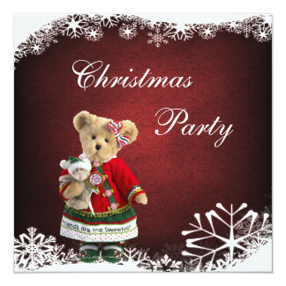 Friends Are The Sweetest - Christmas Teddy Bear 13 Cm X 13 Cm Square Invitation Card