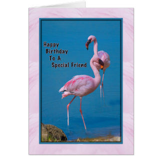 Friend's Birthday Card with Pink Flamingo
