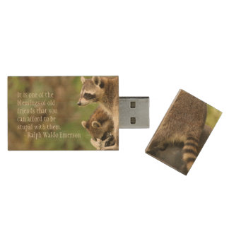 Friends & Blessings Friendship Quote Raccoons Wood USB 2.0 Flash Drive