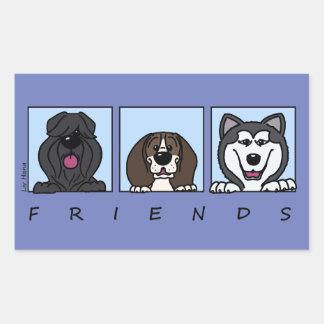 Friends: Bouvier, Beagle & Alaskan Malamute Rectangular Sticker