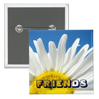 FRIENDS buttons White Daisy Flowers Floral