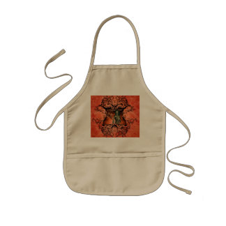 Friends, dragon with fighter in a decorative frame kids apron