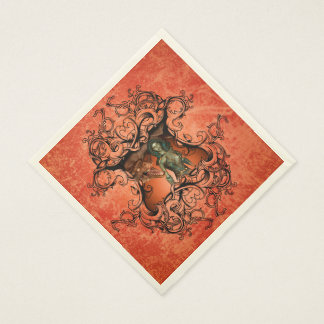 Friends, dragon with fighter in a decorative frame paper serviettes