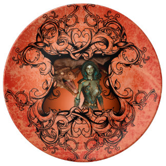 Friends, dragon with fighter in a decorative frame porcelain plates