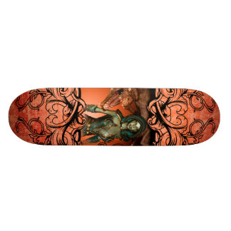Friends, dragon with fighter in a decorative frame skateboards
