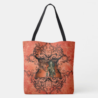 Friends, dragon with fighter in a decorative frame tote bag