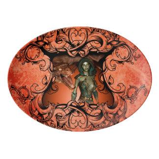 Friends, dragon with fighter porcelain serving platter