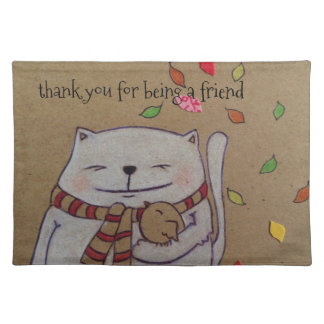 friends for life cute cat and bird hug placemat