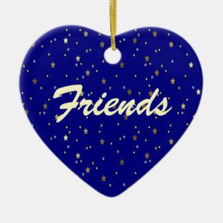 Friends Forever Blue Golden Stars Heart Ornament