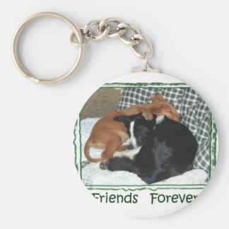 Friends Forever - Border Collie & Golden Retriever Basic Round Button Key Ring