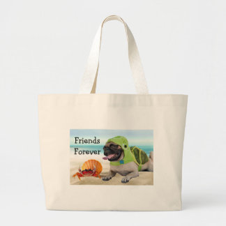 Friends Forever: Crab + Turtle Pug Large Tote Bag