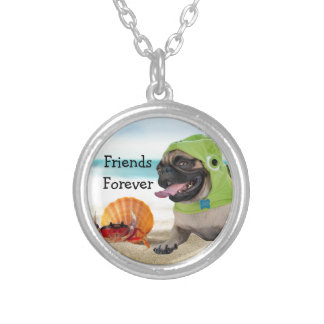 Friends Forever: Crab + Turtle Pug Round Pendant Necklace