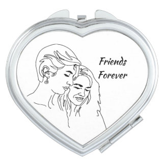 Friends Forever Line Drawing  Friendship Quote Vanity Mirror