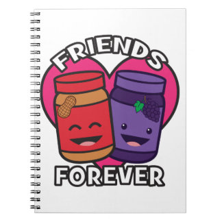 Friends Forever - Peanut Butter And Jelly Kawaii Notebooks