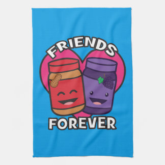 Friends Forever - Peanut Butter And Jelly Kawaii Tea Towel